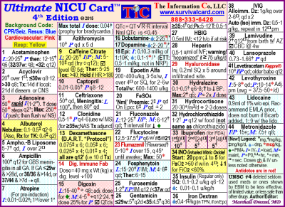 Alt = NICU (neonatal intensive care unit) Survival Card is a quick reference and review of commonly used NICU medications, TPN information, UVC placement, bilirubin graphs for term and preterm babies on a pocket sized, laminated card
