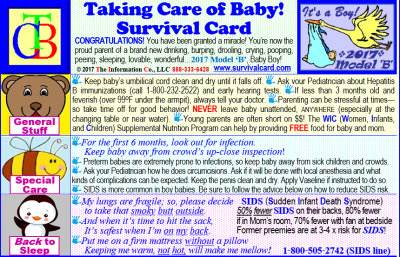 Alt = Quick reference and review for the parents of newborn babies including information on SIDS, Shaken Baby Syndrome, proper car seat fit, WIC, Poison Control, umbilical cord care, hearing screening, and breast feeding on a pocket sized laminated card